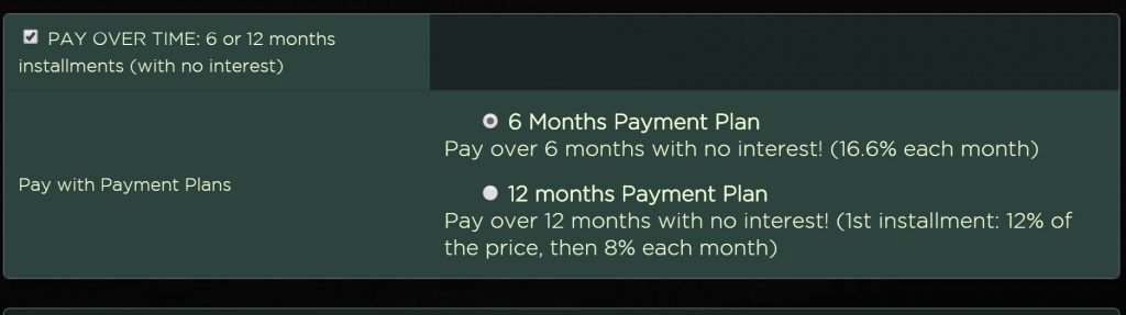 New Payment Plan Option